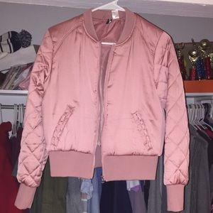 h&m pink satin bomber jacket